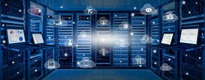 Internetdatorhall och molnservicebegrepp Arkivfoto