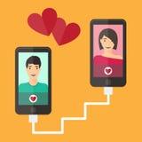 Internetdatummärkning, online-flört och förhållande Mobil Arkivbild