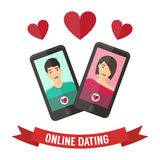 Internetdatummärkning, online-flört och förhållande Mobil Arkivfoton