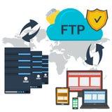 Internetftp-server och online-lagring stock illustrationer