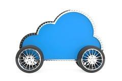 Internetlagringsbegrepp Molnsymbol på hjulen Arkivfoto