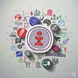Internetmarknadsföringscollage med symbolsbakgrund Royaltyfri Foto