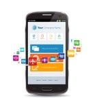 Internetmoln Smartphone Apps Arkivbild