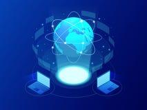 Internetnätverk för global kommunikation runt om planeten Nätverks- och datautbyte över planeten Förbindelsesatelliter för stock illustrationer