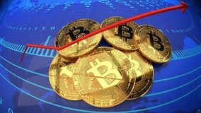 Internetowa cyfrowa moneta, bitcoin, cyber crypto waluta royalty ilustracja
