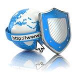 Internetowa ochrona. Ziemia, wyszukiwarka adresu linia i osłona. royalty ilustracja