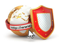 Internetowa ochrona. Ziemia, wyszukiwarka adresu linia i osłona. ilustracja wektor