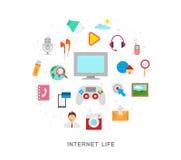 Internetowe życie ikony ilustracji