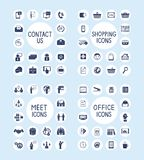 Internetowe Biznesowego biura i zakupy ikony Ustawiać Fotografia Royalty Free