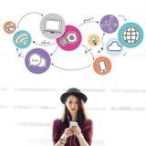 Internetowej sieci Komunikacyjny Podłączeniowy pojęcie zdjęcia stock