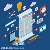 Internetowy blogging, sieci publikacja, sieci dziennikarstwo, blogu zarządzania wektoru pojęcie royalty ilustracja
