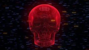 Internetowy czerwony malware folujący ochrony czaszki hd ilustracji