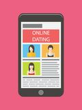 Internetowy datowanie, online flirt i powiązanie, Wisząca ozdoba ilustracji