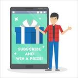 Internetowy konkurs Prenumeruje nagrodę i wygrywa Internet ilustracja wektor