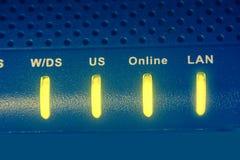 Internetowy modem z światłami zdjęcie stock