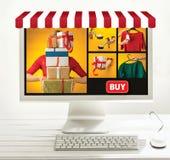 Internetowy online zakupy pojęcie z komputerem i furą zdjęcia royalty free