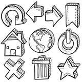 Internetowy symbolu nakreślenia asortyment ilustracja wektor