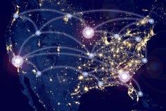Internetowy technologii pojęcie globalnego biznesu lub socjalny sieć Zdjęcie Royalty Free