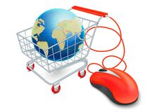Internetowy wózek na zakupy pojęcie ilustracji
