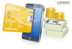 Internetowy Zakupy i Zapłaty Elektroniczny Pojęcie Obraz Royalty Free