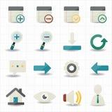 Internetrengöringsduk- och mobilsymboler Arkivbilder