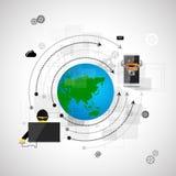 Internetsäkerhet och skydd mot virusattacker stock illustrationer