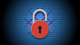 Internetsäkerhetsbegrepp, öppen röd hänglås på bakgrund för digitala data stock illustrationer