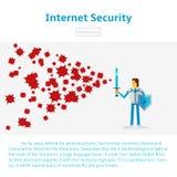 Internetsäkerhetsillustration i plan infographic stil Arkivbilder