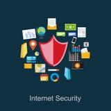Internetsäkerhetsillustration Illustration för dataskydd vektor illustrationer