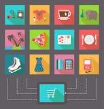 Internetshopping, e-kommers aktivitet vektor royaltyfri illustrationer