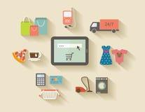 Internetshopping, e-kommers begrepp inställda symboler royaltyfri illustrationer