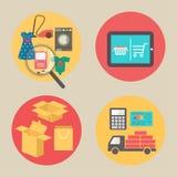 Internetshoppingbegrepp, lägenhetdesignvektor stock illustrationer