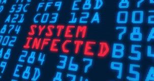 """Internetsicherheitsmodewörter †""""System angesteckt stock abbildung"""