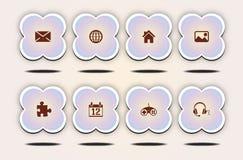 Internetsymbolsuppsättning, gullig blommastil Arkivfoton