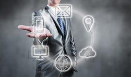 Internetteknologibegrepp av den globala affären eller det sociala nätverket Royaltyfri Foto