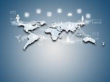 Internetteknologibegrepp av den globala affären eller det sociala nätverket Arkivbild