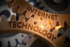 Internetteknologibegrepp gears guld- illustration 3d Royaltyfri Bild
