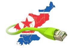 Internetuppkoppling i det Nordkorea begreppet framförande 3d Royaltyfri Fotografi