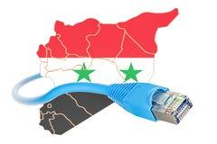 Internetuppkoppling i det Syrien begreppet framförande 3d Royaltyfria Bilder