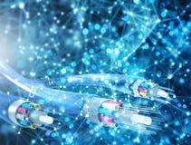 Internetuppkoppling med optisk fiber Begrepp av den snabba internet fotografering för bildbyråer
