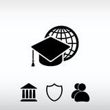 Internetutbildningssymbol, vektorillustration Sänka designstil Royaltyfri Foto
