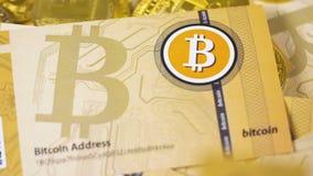 Internetvaluta faller ner på sedel och mynt stock video