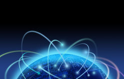 Internetverkehr über Leiterplattewelt Lizenzfreie Stockbilder