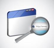 Internetwebbläsaren och förstorar sökandestången Arkivbild