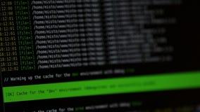 Internetwebsitecode die een terminal van het computerscherm reduceren Rapport van fouten