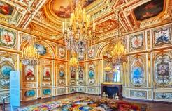 Interni del palazzo di Fontainebleau La camera del Consiglio Wa del castello Immagini Stock