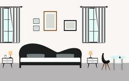 Interni della camera da letto con mobilia nello stile moderno Fotografia Stock