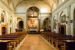Interni della chiesa italiana in Dozza Fotografia Stock Libera da Diritti