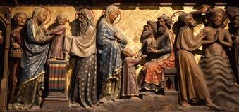 Interni e dettagli della basilica di St Denis, Francia Fotografie Stock