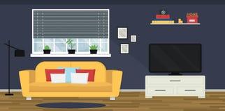 Interno accogliente del salone con il sofà e la TV Finestra con la vista di paesaggio urbano Appartamento moderno Progettazione p immagine stock libera da diritti